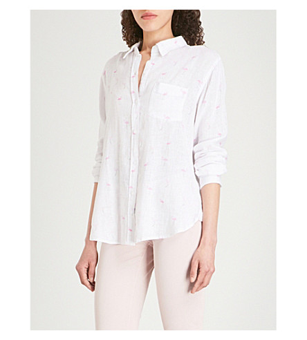RAILS Charli motif-embroidered linen-blend shirt (Flamingos