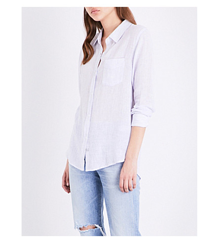 RAILS Charli pinstripe woven shirt (White/royal+stripe