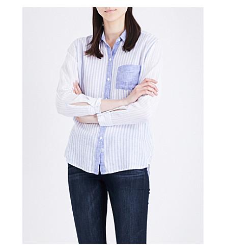 RAILS Charli striped linen-blend shirt (Trio+stripe