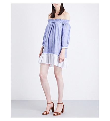 RAILS Camilla off-the-shoulder linen-blend mini dress (Trio+stripe