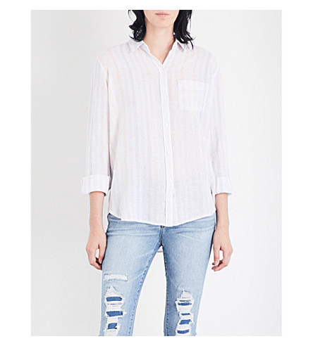 RAILS Charli striped linen-blend shirt (Barcelona+stripe