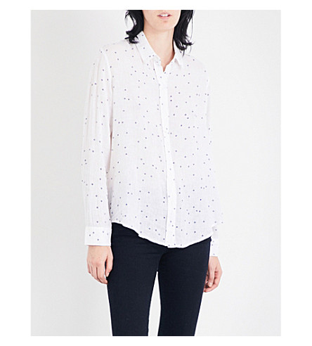 RAILS Sydney star-print linen-blend shirt (Navy+stars