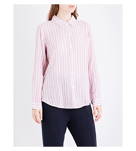 RAILS Sydney striped linen-blend shirt (Rouge+rosegold+lurex