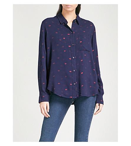RAILS Lip-print woven shirt (Kiss+me+metallic