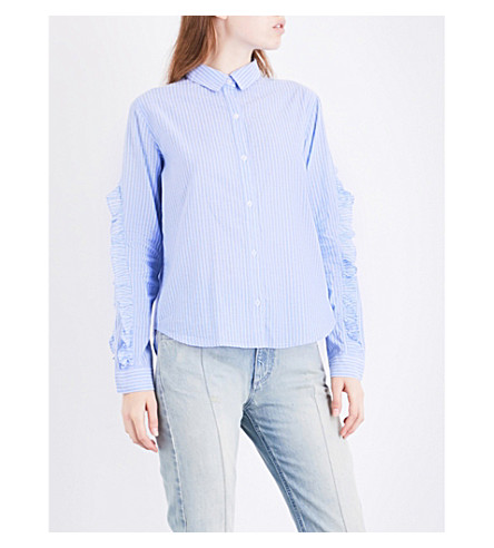 RAILS Lizzi striped cotton-blend shirt (Bellflower/white+stripe