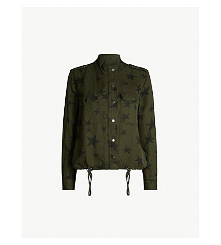 RAILS Collins star-print woven jacket (Sage with black stars