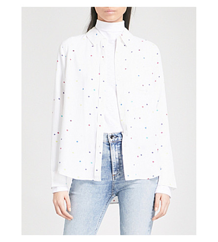 RAILS Star-print silk shirt (Rainbow+stars+on+white