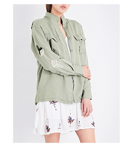 RAILS Elliott embroidered twill shirt (Sage+aztec