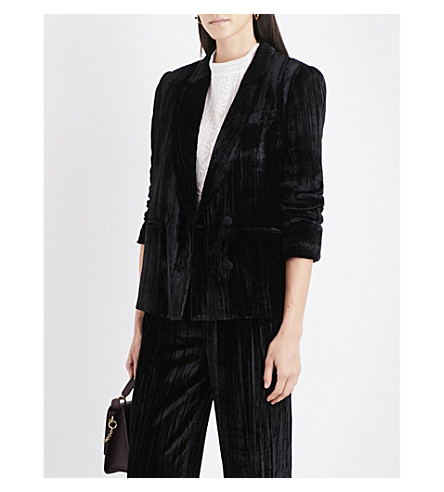 MASSCOB Double-breasted crushed-velvet blazer (Black+23224