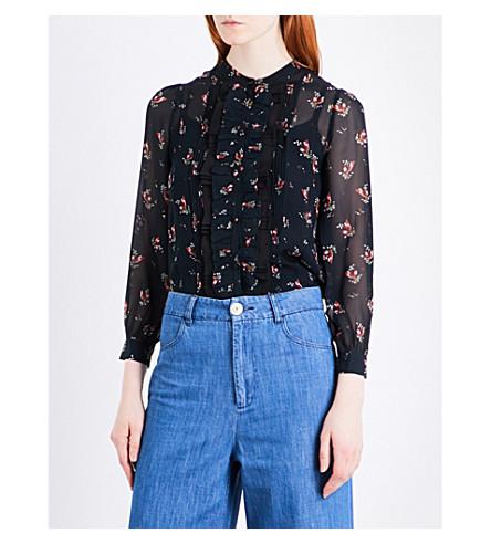 MASSCOB Floral silk-chiffon shirt (Black