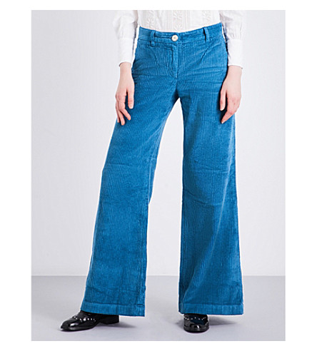 MASSCOB Flared high-rise corduroy trousers (Bluette+23149