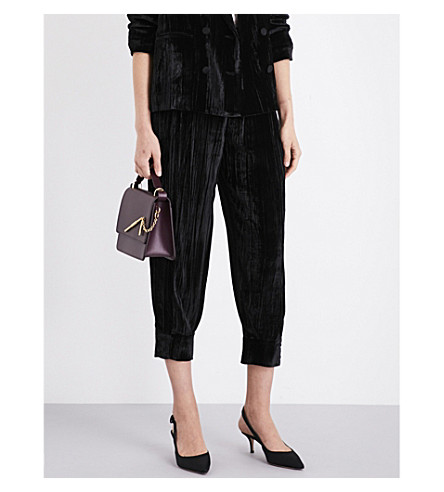 MASSCOB Tapered cropped velvet trousers (Black+23129