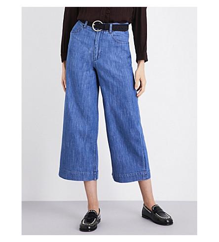 MASSCOB Wide-leg cropped high-rise jeans (Denim+23174