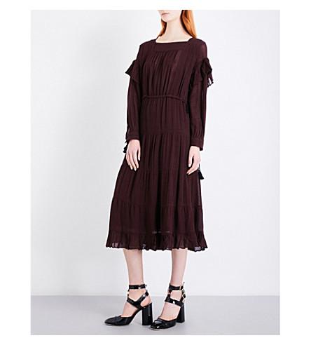 MASSCOB Houndstooth-pattern gauze dress (Bordeaux+23513
