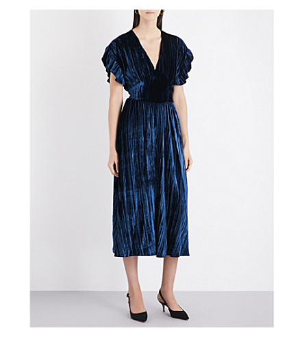 MASSCOB Ruffled V-neck velvet midi dress (Bluette