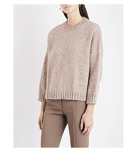MASSCOB Ribbed-trim alpaca-blend jumper (Noisette