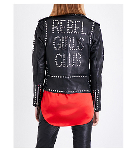 LAURIE LEE LEATHER Rebel Girls Club leather biker jacket (Black+studded