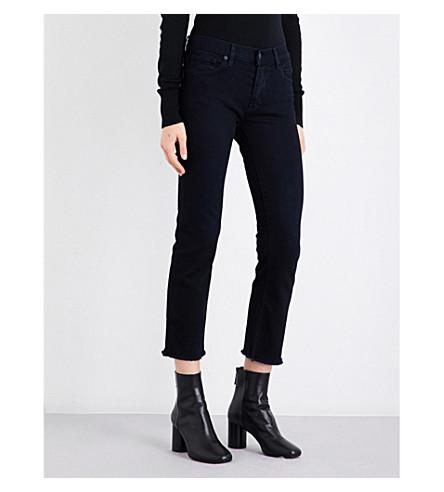 NILI LOTAN Frayed-hem boyfriend mid-rise jeans (Midnight+wash