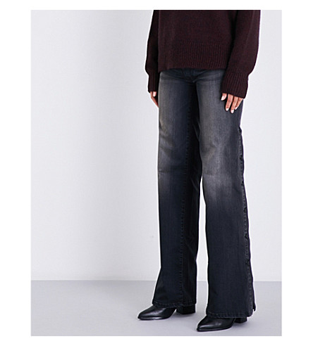 NILI LOTAN Popper-side flared mid-rise jeans (Smoke+wash