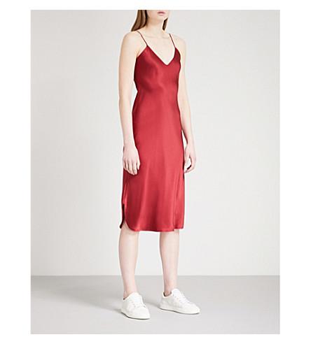 尼利·福萨坍短丝缎滑连衣裙 (深红色