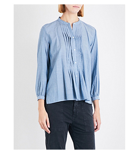 NILI LOTAN Estelle cotton-chambray shirt (Blue