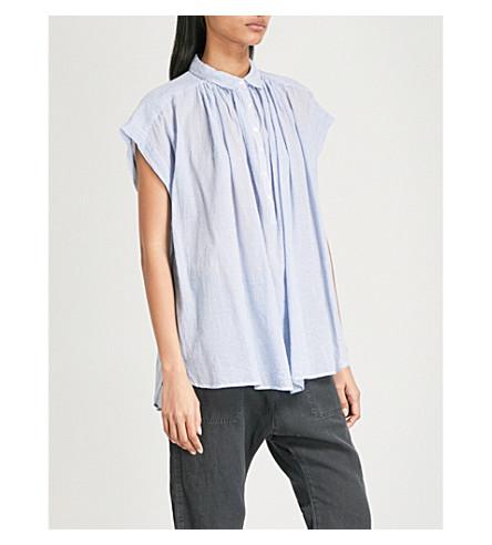 NILI LOTAN Normandy striped cotton blouse (White+blue+stripe