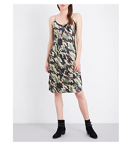 NILI LOTAN Camouflage-print silk-satin slip dress (Light+green+camouflage