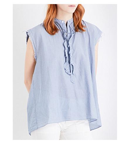 NILI LOTAN Charlton cotton top (Indigo/ivory+stripe