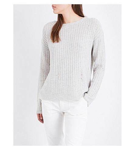 NILI LOTAN Baxter distressed cashmere jumper (Light+grey+melange