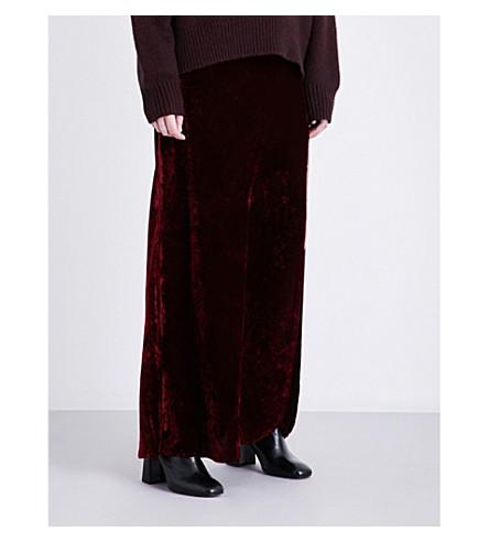 NILI LOTAN Maya high-rise velvet skirt (Burgandy