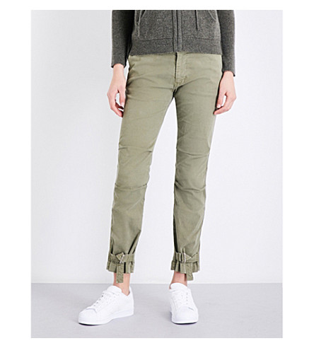 NILI LOTAN Bradley tapered mid-rise stretch-cotton trousers (Army+green