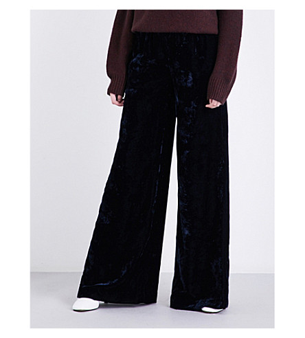 NILI LOTAN Harlow high-rise velvet trousers (Dark+navy