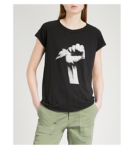 NILI LOTAN Hope cotton-jersey T-shirt (Washed+black