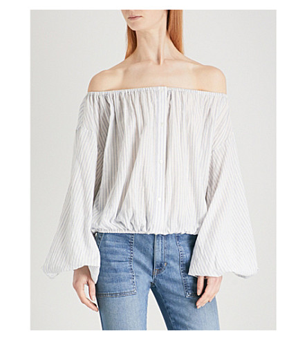 NILI LOTAN Roxie cotton-blend blouse (White+blue