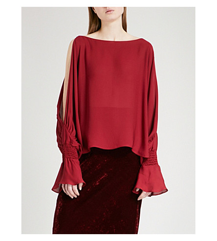 NILI LOTAN Devon cold-shoulder silk-crepe blouse (Crimson