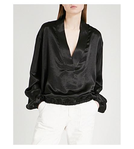 NILI LOTAN Kensington V-neck satin blouse (Black