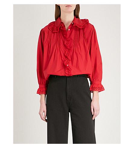 NILI LOTAN Mai cotton blouse (Vermilion+red