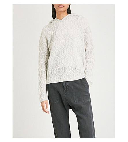 NILI LOTAN Belize cable-knit cashmere hoody (Light+grey+melange