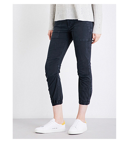 NILI LOTAN Military tapered mid-rise stretch-cotton pants (Carbon
