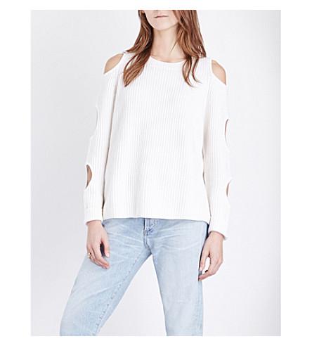 ZOE JORDAN Galileo cold-shoulder wool and cashmere-blend jumper (White