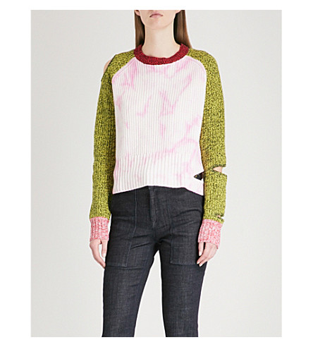 ZOE JORDAN Akar cutout wool and cashmere-blend jumper (Multi