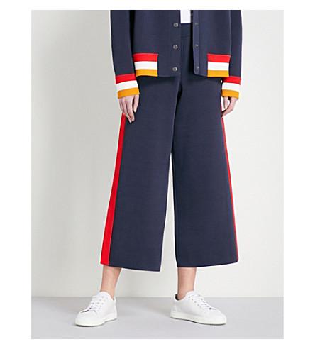 ZOE JORDAN Cazaro wide-leg high-rise knitted trousers (Navy
