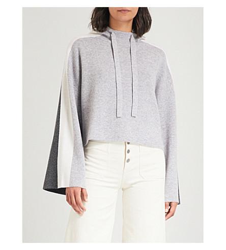 ZOE JORDAN Colour-blocked wool and cashmere-blend hoody (Ash+/+white+/+slate