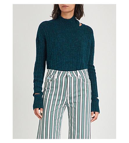 ZOE JORDAN Deconstructed turtleneck knitted jumper (Forest+green