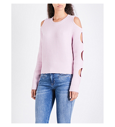 ZOE JORDAN Galen wool and cashmere-blend jumper (Flamingo
