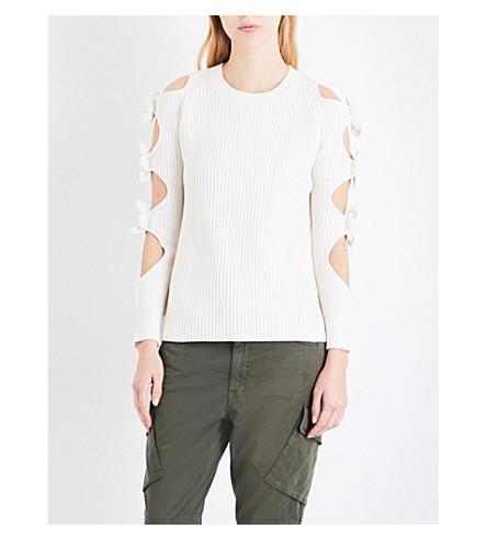 ZOE JORDAN Lovelace wool and cashmere-blend jumper (White