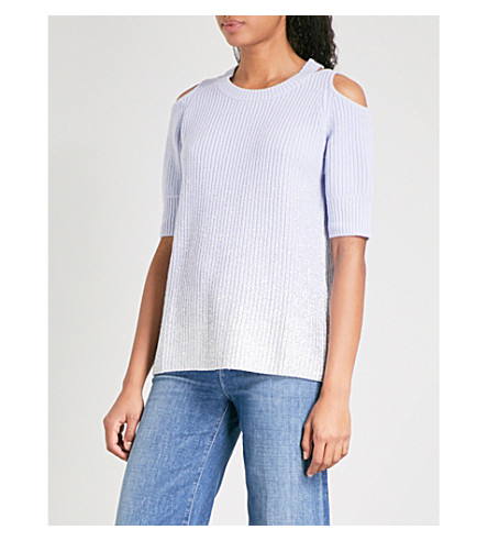 ZOE JORDAN Aristotle wool and cashmere-blend top (Blue+silver