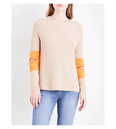 ZOE JORDAN Hubble wool and cashmere-blend jumper (Stone+apricot
