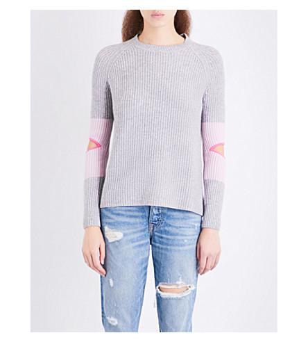 ZOE JORDAN Hubble wool and cashmere-blend jumper (Ash+flamingo