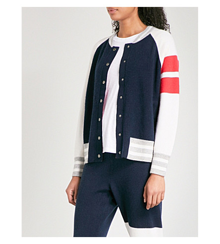 ZOE JORDAN Edison wool and cashmere-blend bomber jacket (Navy+white+red